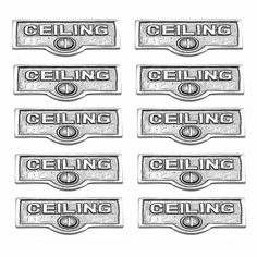 10 Switchplate Chrome Over Brass CEILING Switch Tag Chrome 1 11/16 in. W