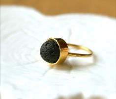 Lava Bead Gold Ring--Natural Beauty