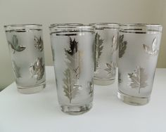 Libbey Silver Leaf Drinking Glasses.
