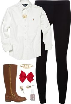 Boots, Bows, & Button-Ups by classically-preppy featuring j crew earrings ❤ liked on PolyvorePolo Ralph Lauren  shirt / James Perse legging / J.Crew j crew earrings / Gold plated monogram necklace / Hair accessory / Essie nail polish / Irina - JustFab