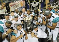 The Arizona Rattlers celebrating their ArenaBowl XXV victory. (Yeung Photography).