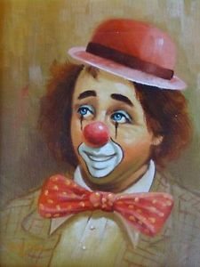 Vintage Rare Clown Oil Painting by Hoppin Es Der Clown, Le Clown, Circus Clown, Circus Theme, Clown Photos, Famous Clowns, Mime, Clown Paintings, Pierrot Clown