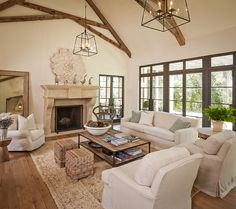 decor, coffee tables, living rooms, neutral rug, exposed beams, custom homes, window, live room, furniture placement