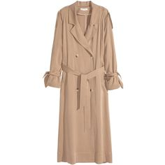 H&M Trenchcoat van lyocell 49,99 ($99) ❤ liked on Polyvore featuring outerwear, coats, jackets, h&m coats, trench coat, double breasted coat, beige trench coat and beige coat