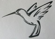 Outline, hummingbird tattoo