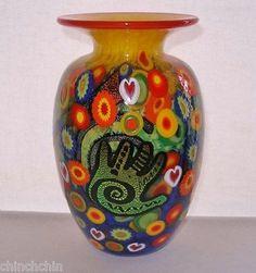 Breathtaking SIGNED Mad ART Glass VASE MILLEFIORI Dichroic HANDS Heart Murrines