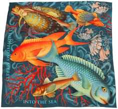 """""""The Secrets"""" - Silk scarf, 100% silk classic carré 90cm (36"""" square) by Heartbreak Salon. Premium silk charmeuse. Hand-rolled edge. ...Wrap yourself in the mystique of this coral reef-inspired silk scarf. If there is something small or something big for which you can't forgive yourself, just let it go. Drop that key, and the letter, and the ring into the depths... #silkscarf #silkscarves #designersilkscarves #designerscarf #ocean #coralreef #greyscarf #bluescarf #tropicalfish #Jellyfish"""