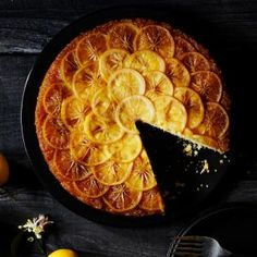 Meyer lemon Tatin - Sunset magazine. I used rice milk. And a little less sugar than what was asked for. So good! I also replaced 2/3 of the butter by margarine + instead of fine cornmeal (which I didn't have) I used 1/3 of regular polenta and 2/3 of almond flour. New update: using 1.5 tsp Davita phosphorus-free baking powder, same ratio butter ( for caramel)/margarine (cake). And 1/2 c polenta and 1/4 c coconut flour. 1.5 lemon for zest and 2 for fruit. Cooker after 40 min.
