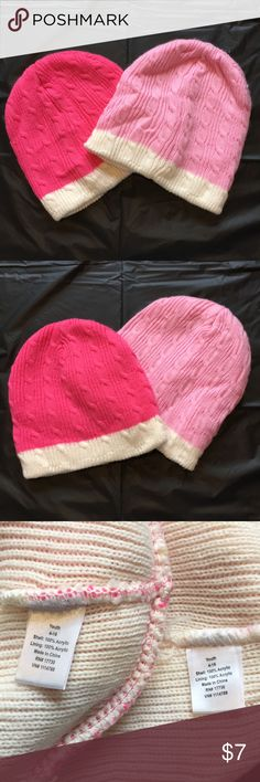 ❄️ $5Bundle4 Beanie knit hats (2 pcs) Youth 4-16 Beanie knitted hats (2 pcs) Size Youth 4-16  Used in great condition Accessories Hats