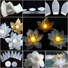 How to DIY Milk Jug Waterlily Flower Luminaries tutorial and instruction. Follow us: www.facebook.com/fabartdiy