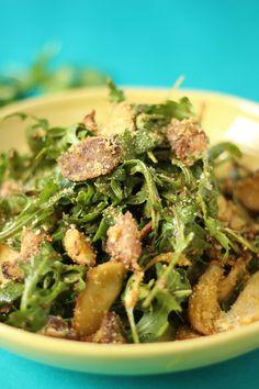 Warm Crispy Mushroom Arugula Salad - Healthnut Nutrition