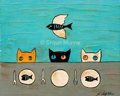 Three Kitties at Fish Dinner, original mixed media painting on wood by Shijun Munns