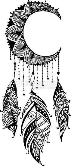 Clipart vectoriel : Dessiné à la main, porte-bonheur indien mandala lune avec plumes. tribal ethnique illustration