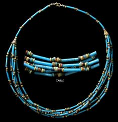 """Ancient Egypt, Late Period, 664-535 BC. Gorgeous necklace comprised of high-quality ancient bright blue faience tube beads. One strand in back splits into 6 across front. 19"""" long. Ex-Upstate New York collection."""