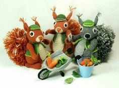 The crochet pattern also includes instructions for Cyril's wheelbarrow, carrots and leaves.