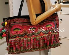 Hand & Heart-made Authentic Hmong Tribal Bags and more by MyChicEthnic Heart Hands, Hand Heart, Pink Dye, Tribal Bags, Ethnic Bag, Swirl Pattern, Vintage Fabrics, Embroidered Flowers, Vintage Leather
