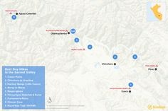 Map of day hikes in the Sacred Valley