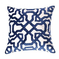 Image of Blue Velvet Appliqué Linen Pillow