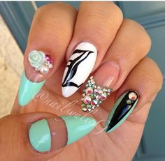 Spring & summer nail art. Mint, flowers, embellishments, french manicure