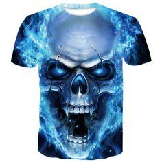 Skull Blue Fang T-Shirt | Skullflow 3d T Shirts, Skull Shirts, Casual T Shirts, Men Casual, Men Shirts, Pullover Shirt, Tee Shirt Homme, Shirt Men, Shirts
