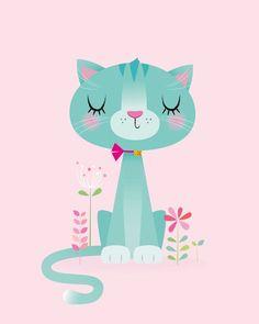 Cette pépinière beau chat impression ferait un merveilleux ajout à n'importe quelle pièce de petites filles. L'impression dispose d'un adorable chat en bleu-vert sur un fond rose bel! Cette copie fait un magnifique cadeau de bébé nouveau :)  Cette pépinière d'archives giclée Fine Art print est mon illustration originale et est signée sur le revers. Imprimé à la commande à l'aide des encres Epson K3 (garantis depuis 200 ans) sur un papier d'art d'archives haut de gamme. Il a une belle…