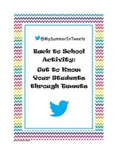 My Summer in Tweets is a fun activity to use with your students during the first couple of days of the new school year. You are able to get to know...