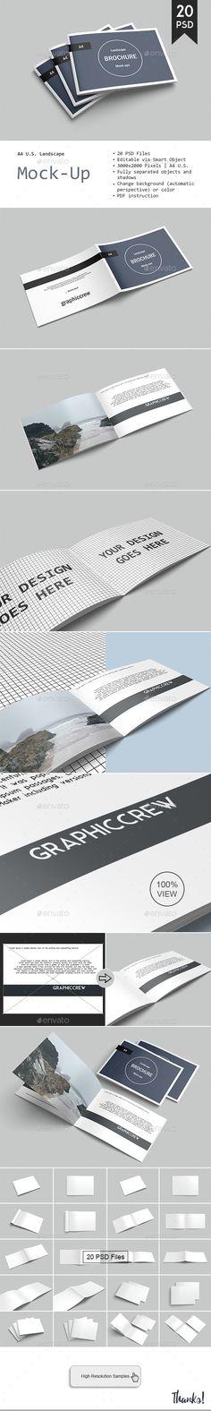 Landscape Brochure Mockup   #A4 #landscape #brochure #mockup #mockups #magazine #graphicdesign #graphic #design #preview #cover #297x210 #display #photoshop #print #inside #photo #Modern #render