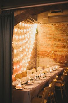 globe lighting - side view -accent brick wall with lights String Lighting, Globe String Lights, String Lights Outdoor, Barn Lighting, Reception Backdrop, Wedding Reception, Our Wedding, Wedding Venues, Dream Wedding
