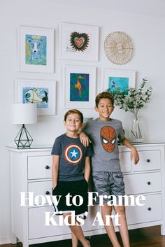 Your Guide to Framing and Displaying Kids' Art. Photo by Playroom Wall Decor, Playroom Design, Playroom Storage, Playroom Table, Playroom Ideas, Wall Storage, Toy Storage, Hanging Kids Art, Art Wall Kids