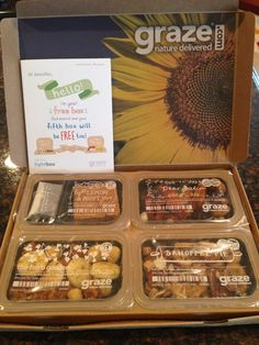 Graze Box Use my code MAITRE5PP for a FREE Graze box! Your first and fifth box is free with shipping included.