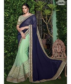 LightGreen & Blue Colour Net & Georgette Ebroidered Saree