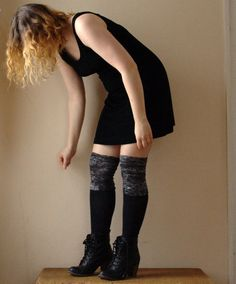 Black and Grey Leg Warmers. Above the knee. Organic Cotton and Wool. Eco Friendly. by blissjoybull