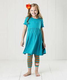 Love this Aqua & Coral Ruffle Babydoll Dress Set - Infant, Toddler & Girls on #zulily! #zulilyfinds