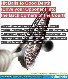 Squash - Hit Balls to Good Depth (Drive your Opponent into the Back Corners of the Court)