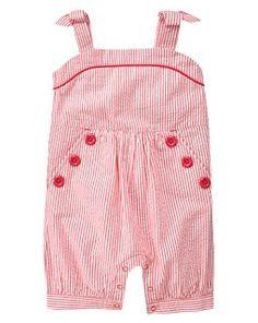 Button Stripe Seersucker Shortall