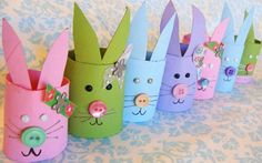 toilet paper Roll Bunnies  (would be cute filled with candies on the tables ,recommend using the paper towel or gift wrap rolls instead of the TP ones, lotsa nasties lurking there)