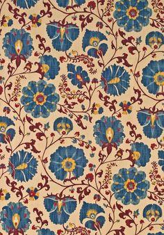 Lewis and Wood Zarafshan indigo/cranberry, 100 percent linen, £108/metre