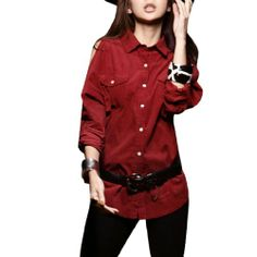 Woman Point Collar Cutout Shoulder Corduroy Buttoned Shirt Red XS