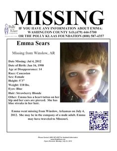 Missing Persons of America - Latest news and information about missing people Missing Persons of America: Emma Sears: Missing from Arkansas