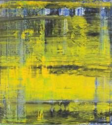 Gerard Richter (German) -began to use a home-made squeegee to rub and scrape the paint that he had applied in large bands across his canvases -spread the paint over the surface and integrated the various colours with each other -One effect of the use of the squeegee was to create a blurring – similar to the blurring in Richter's earlier photo-paintings –so that one has the feeling of looking at an out of focus image, that lies tantalisingly beyond decipherment (Text from…