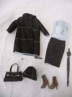 """Partial fashion from the limited Regina Wentworth Giftset from IFDC by Tonner Doll. This outfit will fit 16"""" dolls like Tyler, Sydney, and Diana Prince. Coat, dress, pearl necklace, earrings, eyeglasses, umbrella, purse, and hat. 