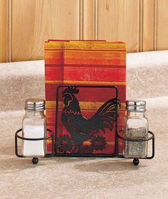 ROOSTER Napkin Holder and Salt and Pepper Shakers KITCHEN DECOR METAL  #Unbranded