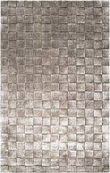 Kinetic Collection Contemporary Basket Weave Squares Silver Grey Wool Solid Area Rug