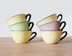 Set of 6 beautiful retro french coffee cups by FrenchBaguette, €38.00