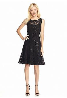 Ronni Nicole Lace and Sequin Fit and Flare Dress - Belk.com