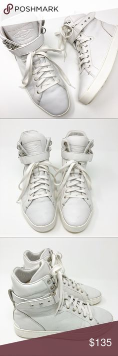 Rag & Bone | Kent Super High Top Sneakers Leather White leather Kent Super High Tops. Lace Up. Ankle strap detail. Size 37.5/7.5.  ▪️Condition: Pre-owned. Some light marks on left toe. Light wear/discoloration on soles. See photos. rag & bone Shoes Sneakers