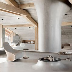 In love with chalet Beranger, a contemporary mountain lodge recently completed by designer and interior architect Noé Duchaufour-Lawrance in the french Alps. Chalet Interior, Modern Interior Design, Interior Architecture, Interior And Exterior, Concrete Architecture, Residential Architecture, Attic Renovation, Attic Remodel, Espace Design