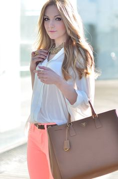 Sheer white blouse + multi chain necklace + rings