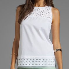 Milly Siena Top Laser Cut Detailing Milly Tops Blouses