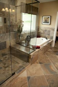 Like this combo, mirror image, with a different floor, e.g., the long, dark wood-grain looking paneled tiles, double-sink opposite w/ mine beside window for natural light and small, gas-log fireplace /b/ shower and window by Gary88